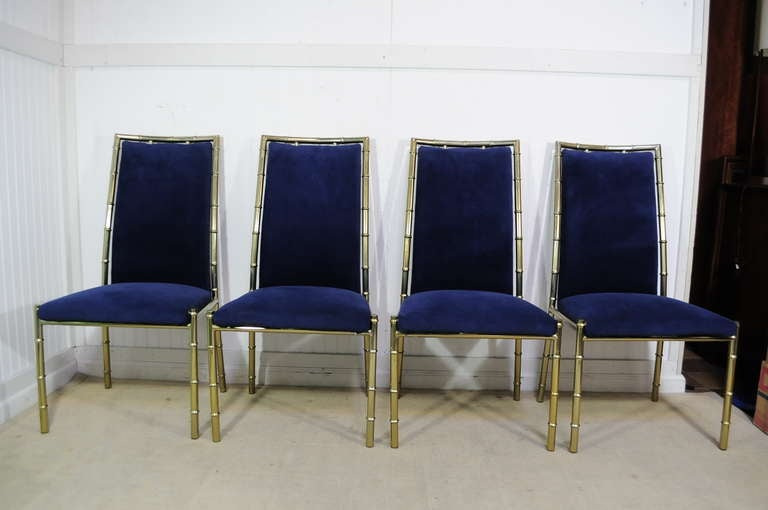 Hollywood Regency Faux Bamboo Dining Set Gold Brass Finish
