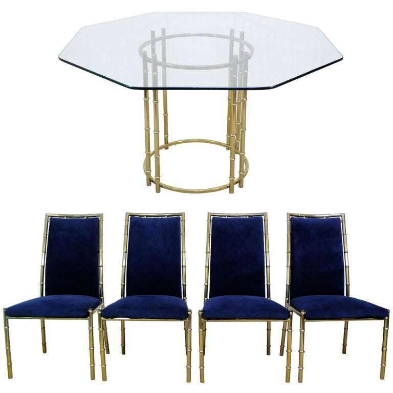 Hollywood Regency Faux Bamboo Dining Set Gold Brass Finish Chairs