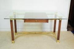 Vintage Hollywood Regency Italian Brass Oak & Glass Campaign Style Writing Desk