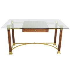 Vintage Hollywood Regency Italian Brass & Oak Campaign Desk - Made in Italy