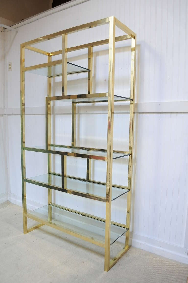 vintage mid century modern gold brass tone etagere after milo baughman at 1stdibs. Black Bedroom Furniture Sets. Home Design Ideas