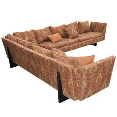 Edward Wormley for Dunbar Two-Part Split Open Arm Bracket Back Sectional Sofa