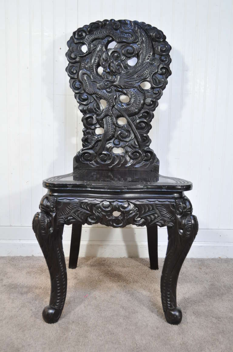 Remarkable, Circa 1920, Heavily Carved Chinese Ebonized 2 Part Writing Desk  with Profoundly Carved - Exquisitely Carved Dragon Ebonized Oriental Chinese Writing Desk And