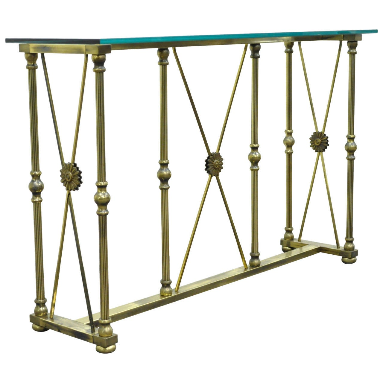 Mastercraft X Form Brass and Glass Console Table in the Neoclassical