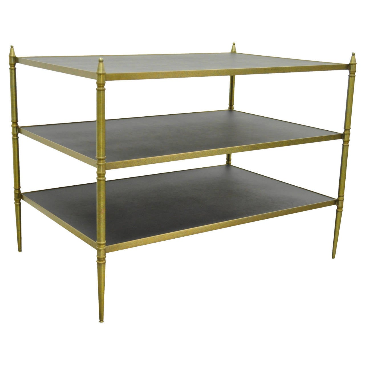 French Neoclassical Maison Jansen Style Bronze and Masonite Serving Side Table For Sale