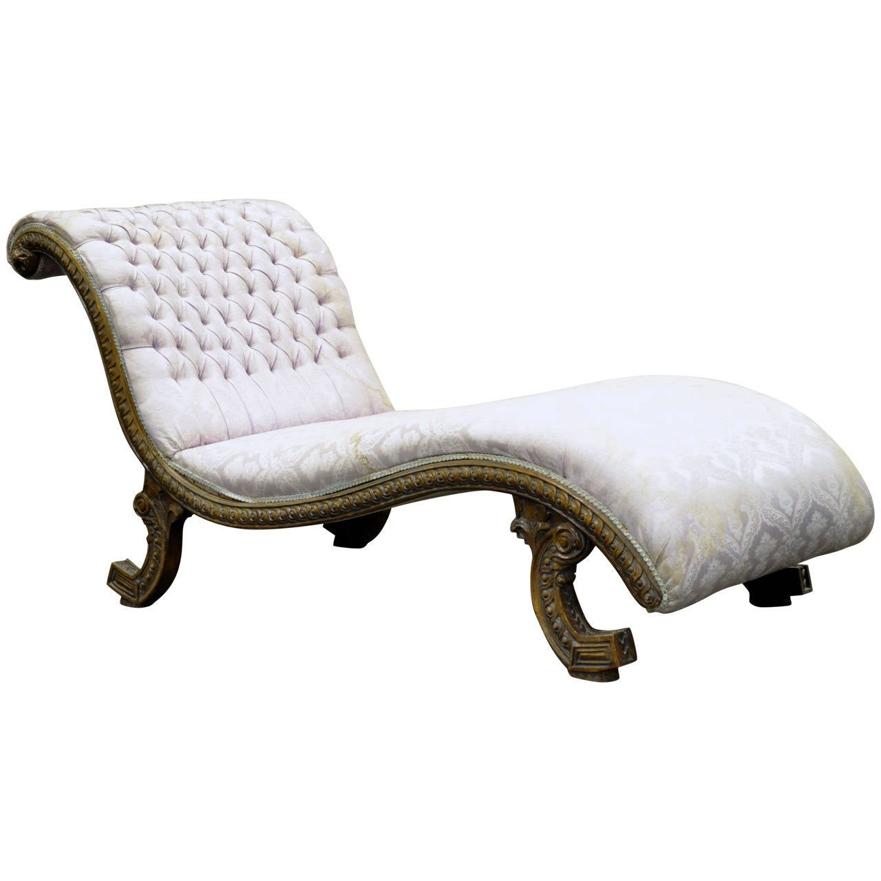 Italian carved walnut recamier or chaise lounge in the for Carved chaise lounge