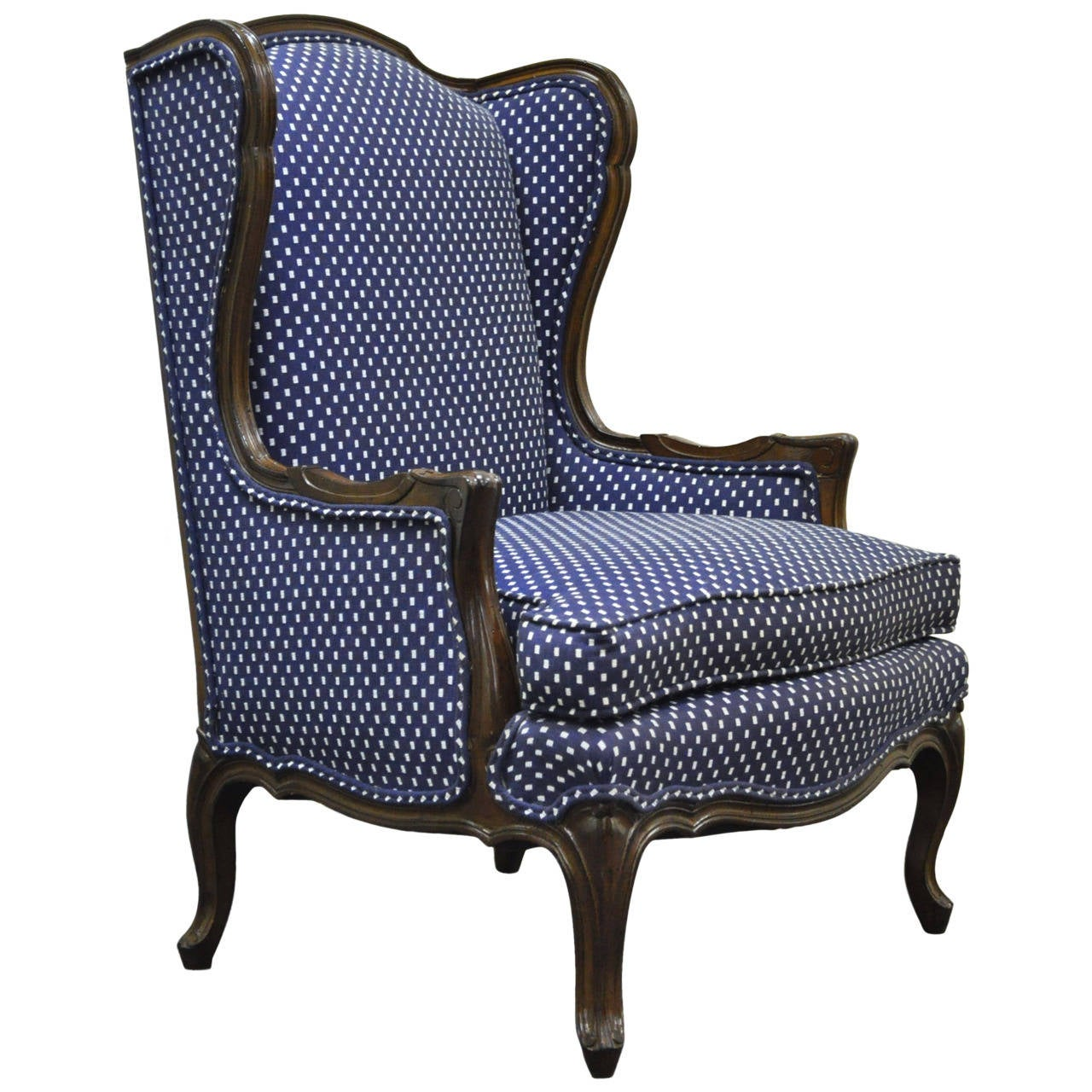 A Pair Of Period French Chairs With Missoni Fabric At 1stdibs: Vintage French Louis XV Or Country Style Carved Wingback