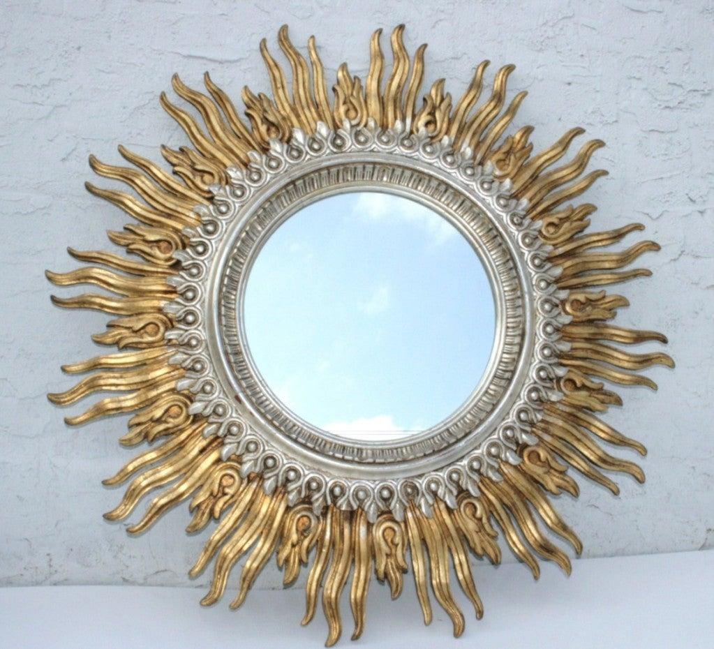 Fine 48 italian silver and gold gilt wood double sunburst for Sunburst mirror