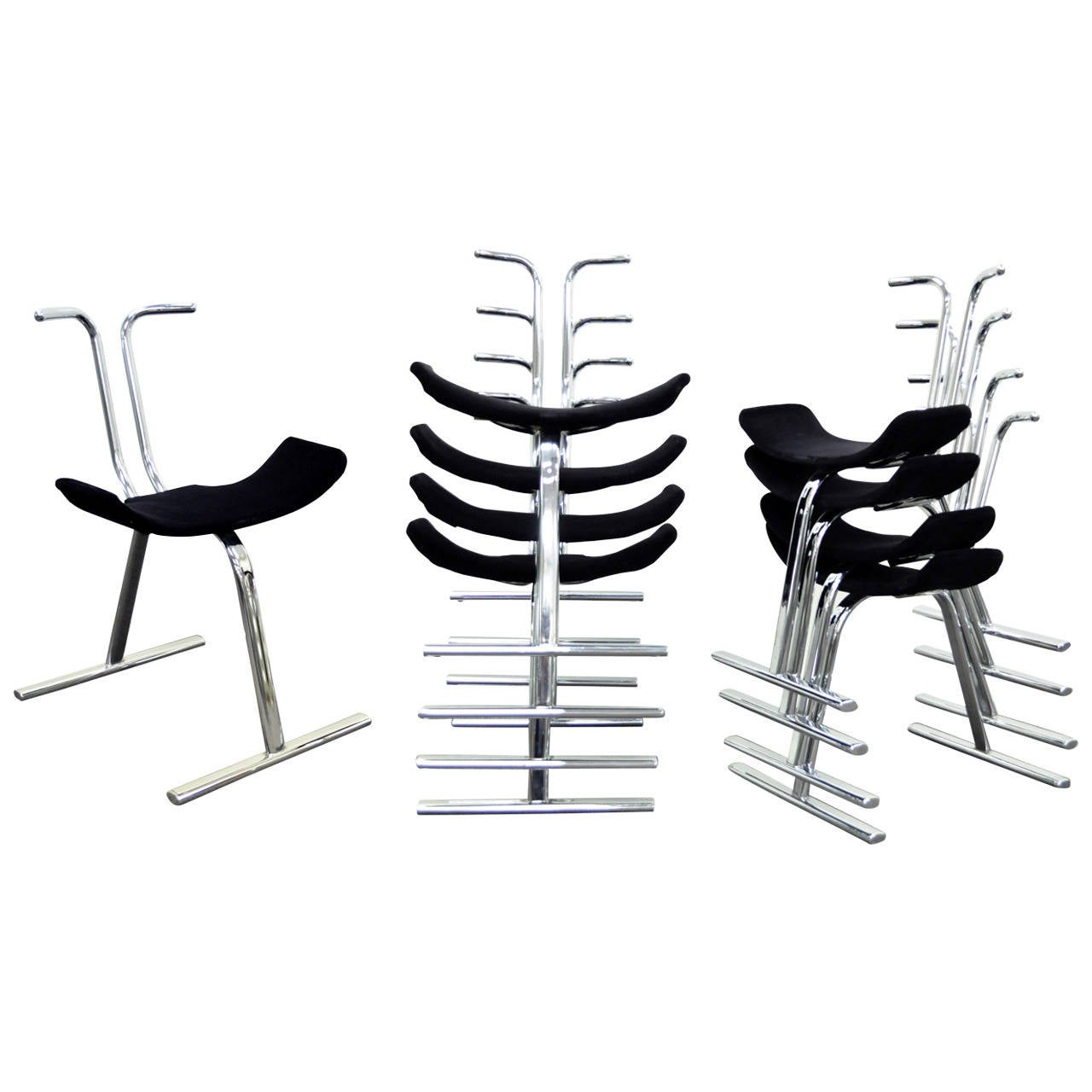 Eight Mid-Century Modern Chrome Stacking Dining Side or Game Chairs by Stendig