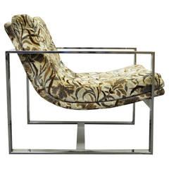 Wide Chrome Flat Bar Lounge Chair Attributed to Milo Baughman for Thayer Coggin