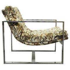 Mid Century Milo Baughman Thayer Coggin Style Chrome Flat Bar Lounge Arm Chair