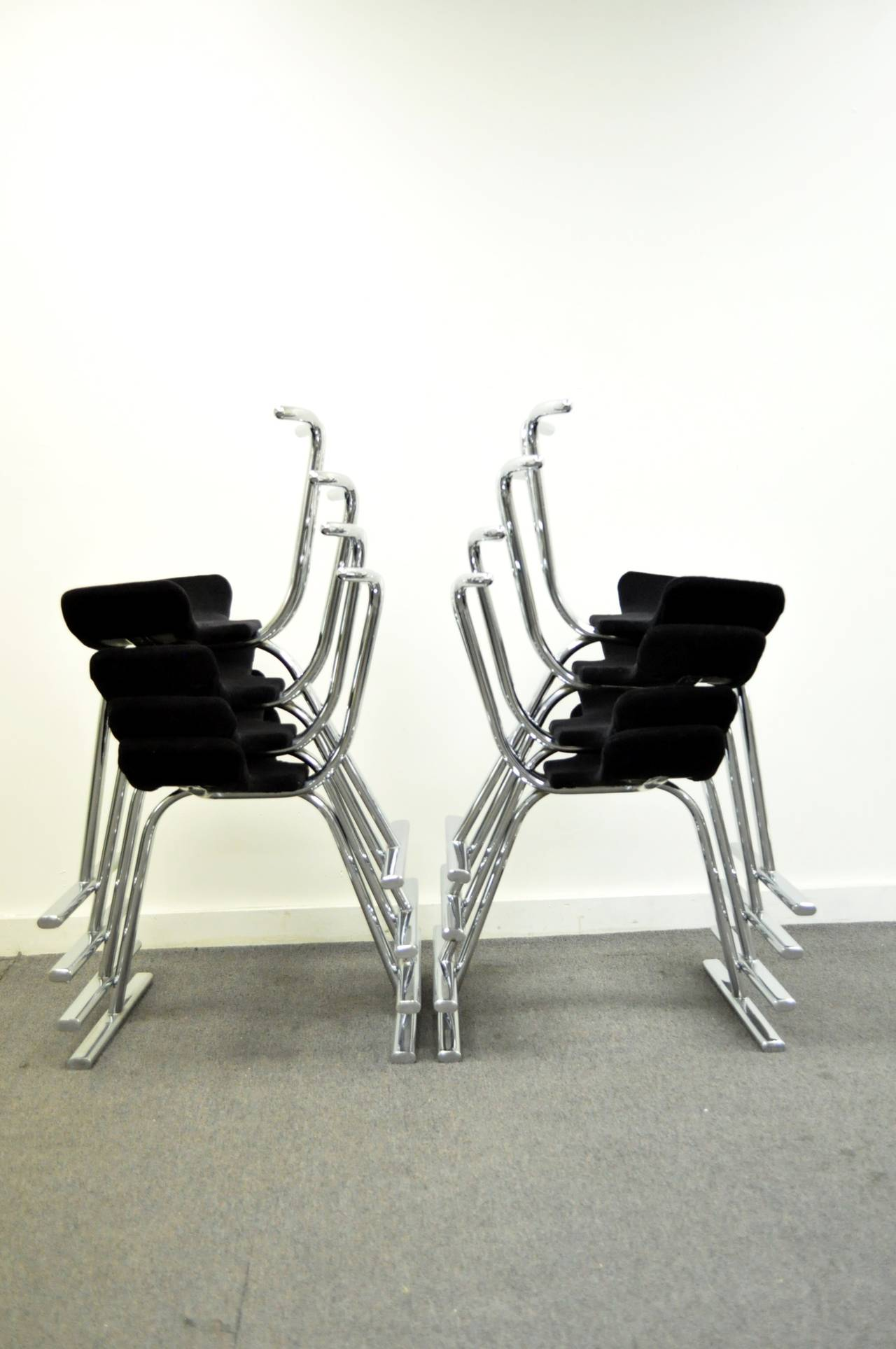 Eight mid century modern chrome stacking dining side or for Modern chrome dining chairs