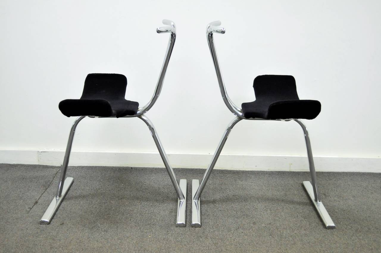 Eight Mid Century Modern Chrome Stacking Dining Side Or