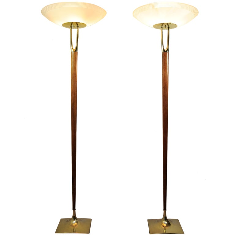 Pair Of Laurel Br Wishbone Wood Torchiere Floor Lamps Tulip Bases For