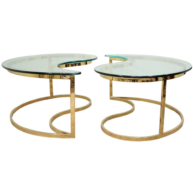 Pair Hollywood Regency Yin Yang Brass Plated End / Coffee Tables 1