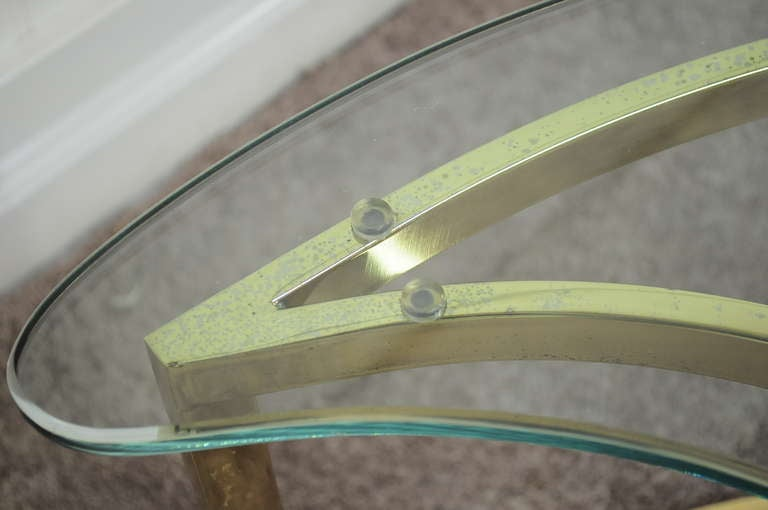 Pair Hollywood Regency Yin Yang Brass Plated End / Coffee Tables 5