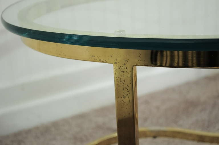Pair Hollywood Regency Yin Yang Brass Plated End / Coffee Tables 7