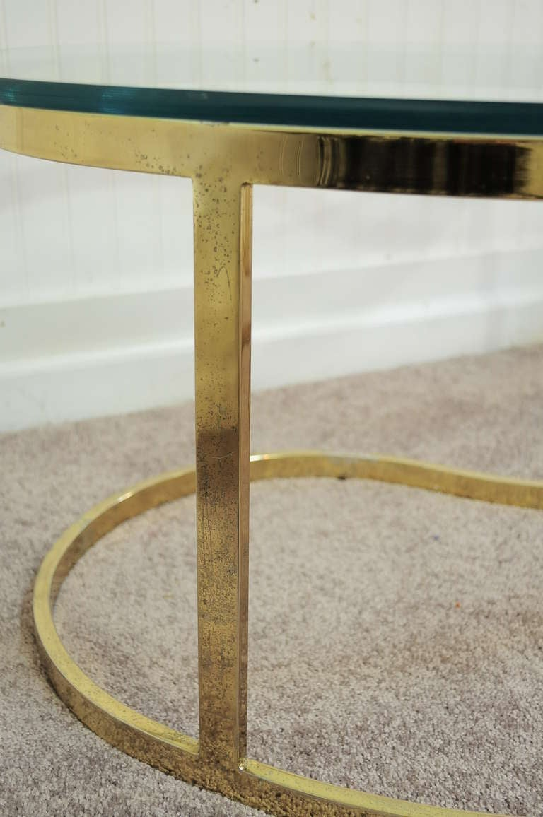 Pair Hollywood Regency Yin Yang Brass Plated End / Coffee Tables 8