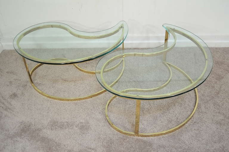 Pair Hollywood Regency Yin Yang Brass Plated End / Coffee Tables 9