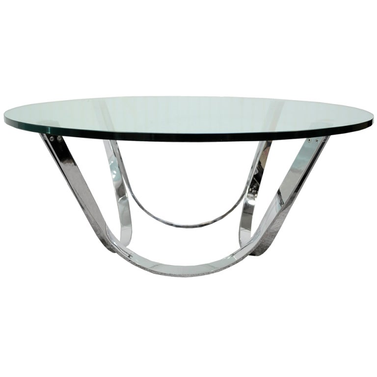 Sculptural heavy chrome and glass coffee table after roger for Heavy glass coffee tables
