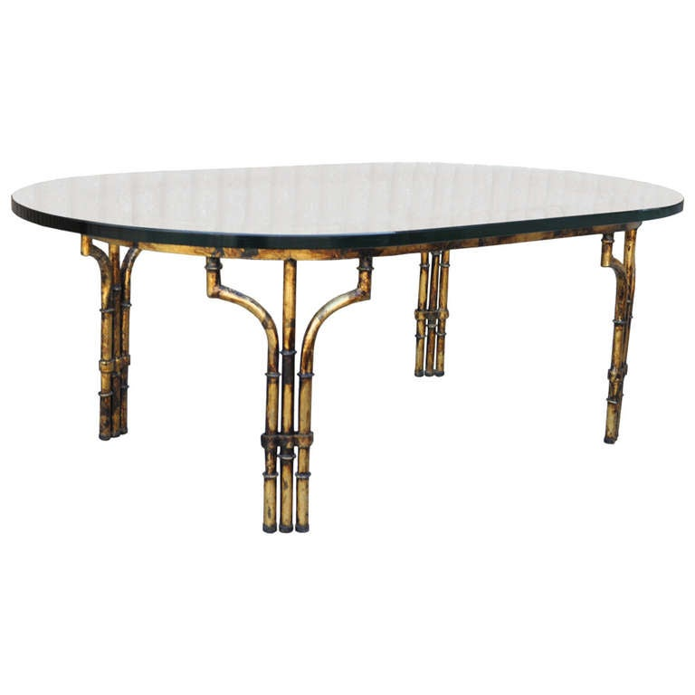 Hollywood Regency Antiqued Gold Gilt Metal Faux Bamboo Glass Top Coffee  Table 1