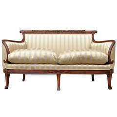 Vintage Hollywood Regency Carved Mahogany French Louis XV Style Wing Back Settee