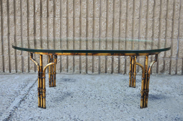 Hollywood Regency Antiqued Gold Gilt Metal Faux Bamboo Glass Top