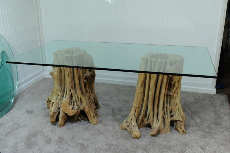 Naturalistic Free Form Japanese Cypress Tree Root Glass Top Dining