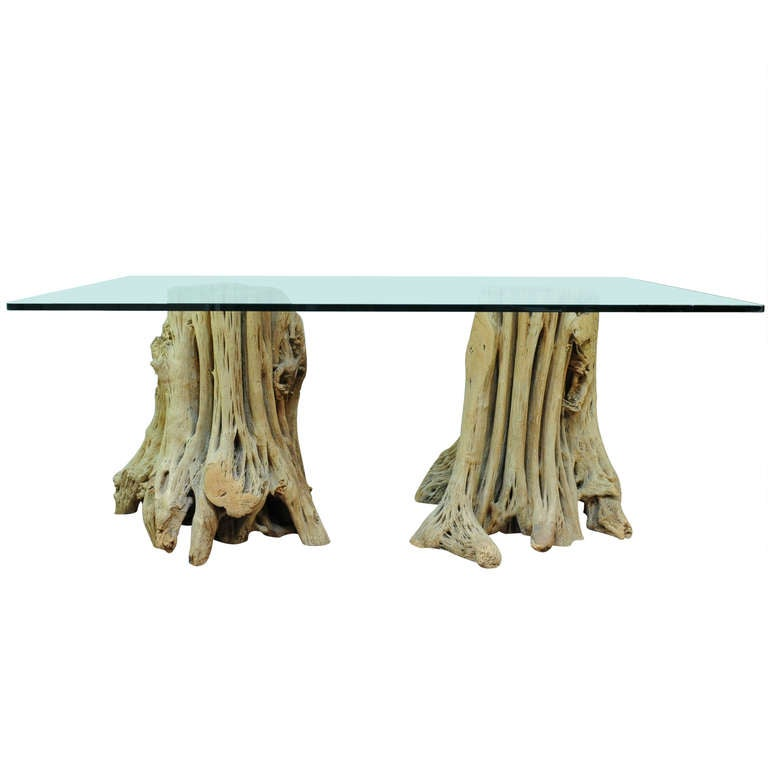 Naturalistic Free Form Japanese Cypress Tree Root Glass Top Dining Table Or  Desk 1