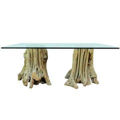 Naturalistic Free Form Japanese Cypress Tree Root Glass Top Dining Table or Desk