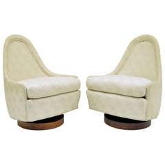 Pair of Petite Swivel Slipper Walnut Lounge Chairs by Milo Baughman