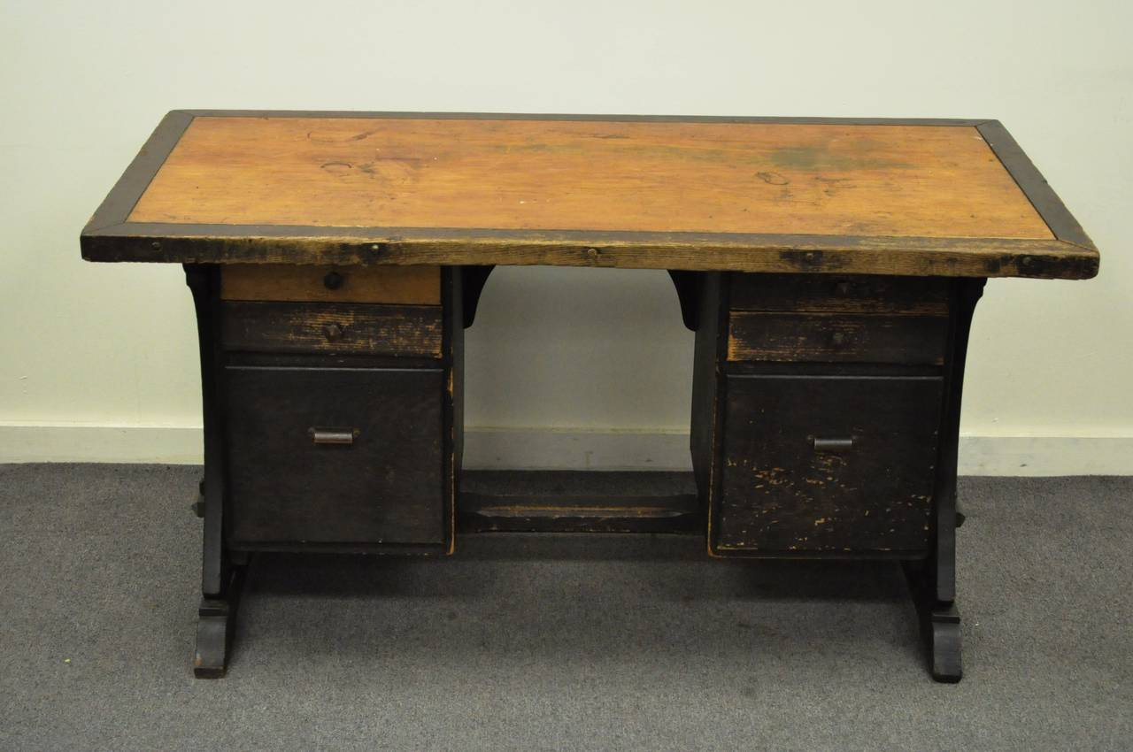 early 20th century custom mission or arts and crafts style On arts and crafts style desk