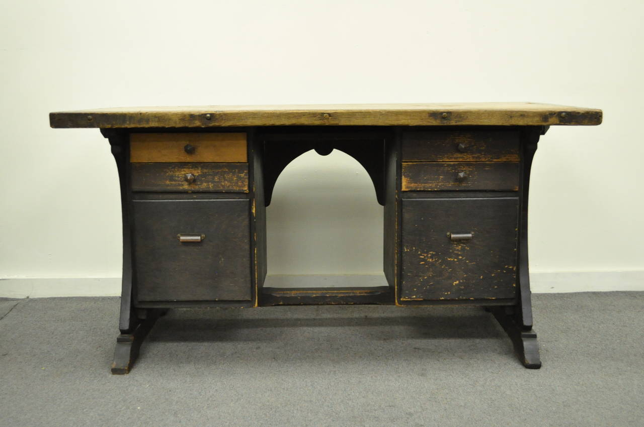 Unique Mission Style Handcrafted Kneehole Writing Desk Dating Back To The Early 20th Century