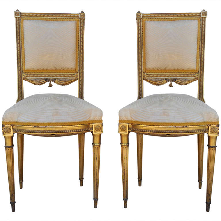french louis xvi style gold gilt wood tassel decorated boudoir chairs 1