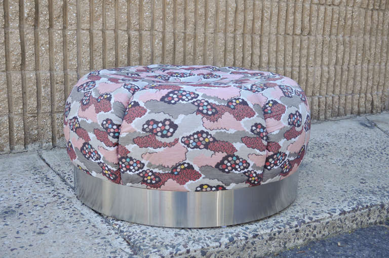 Vintage Round Tufted Steel Chrome Souffle Style Ottoman