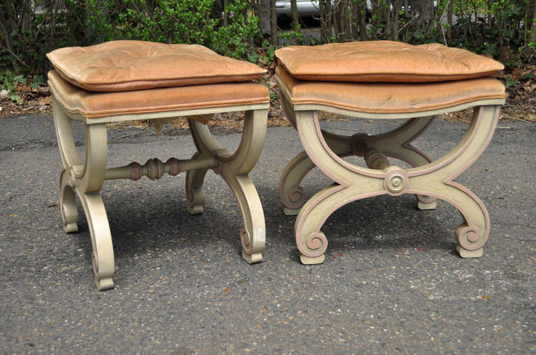 Mid-20th Century Pair of Italian Regency Style Curule X-Frame Benches Pink and Cream Stool For Sale