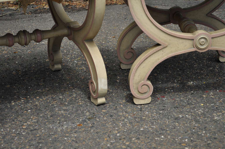 Pair of Italian Regency Style Curule X-Frame Benches Pink and Cream Stool For Sale 1