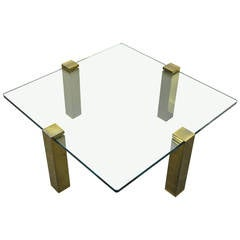 Hollywood Regency Brass and Glass Coffee Table Attributed to Pace Collection