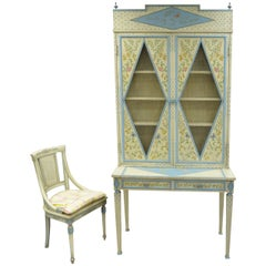 Vintage Custom Painted Italian French Regency Style Tall Secretary Desk & Chair
