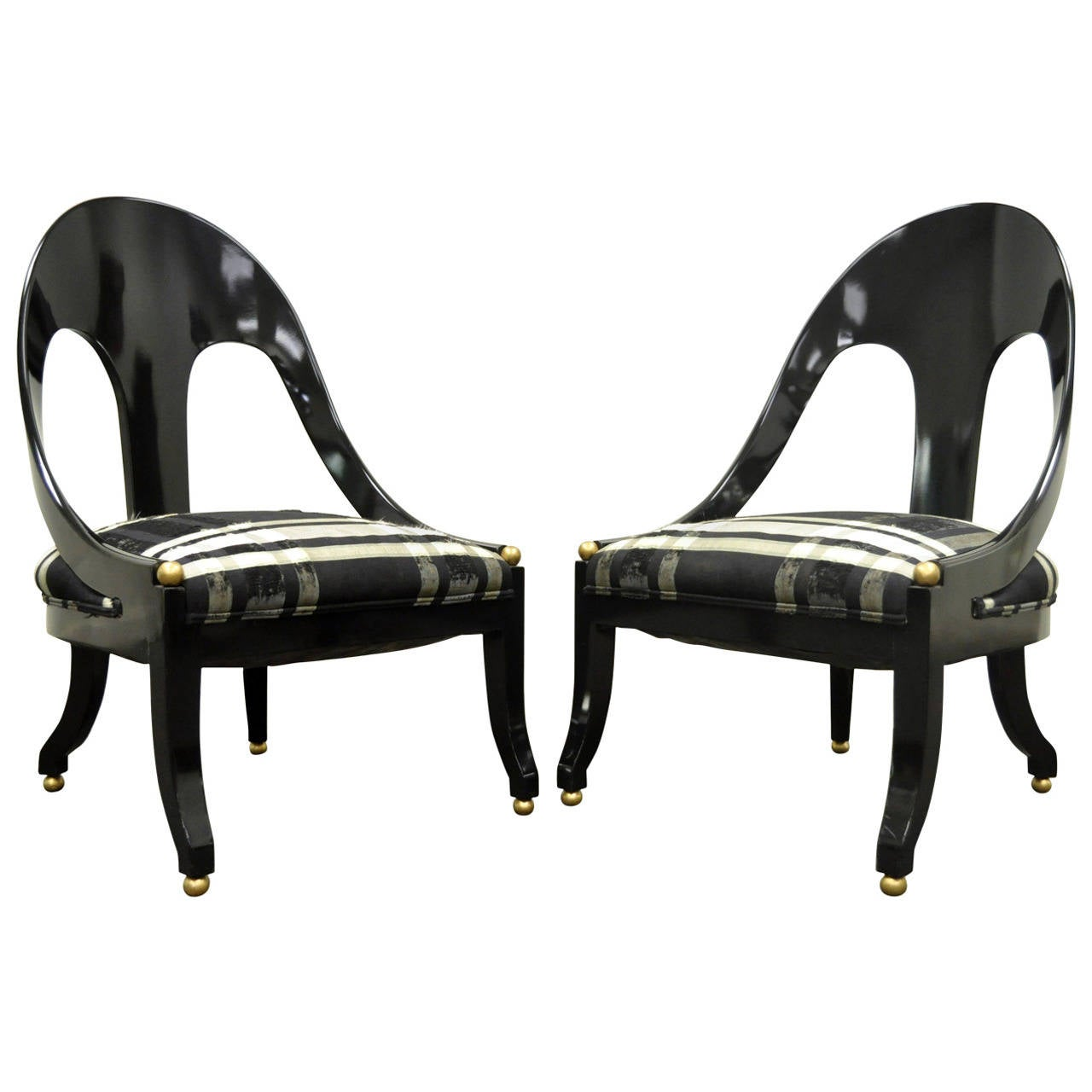 Pair of Michael Taylor for Baker Black Lacquer & Gold Spoon Back Slipper Chairs