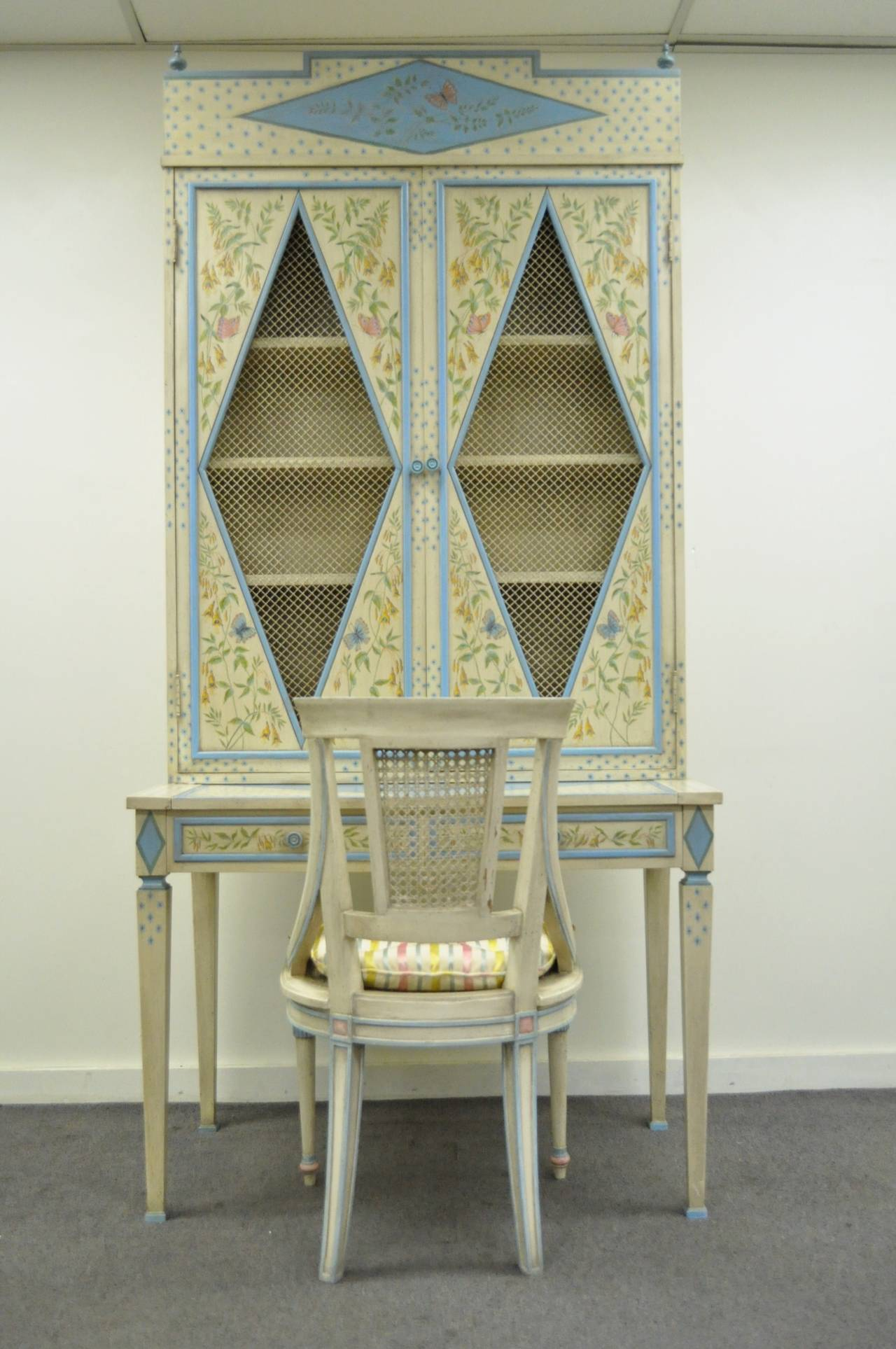 Custom Hand Painted Italian Style Secretary Desk And Chair