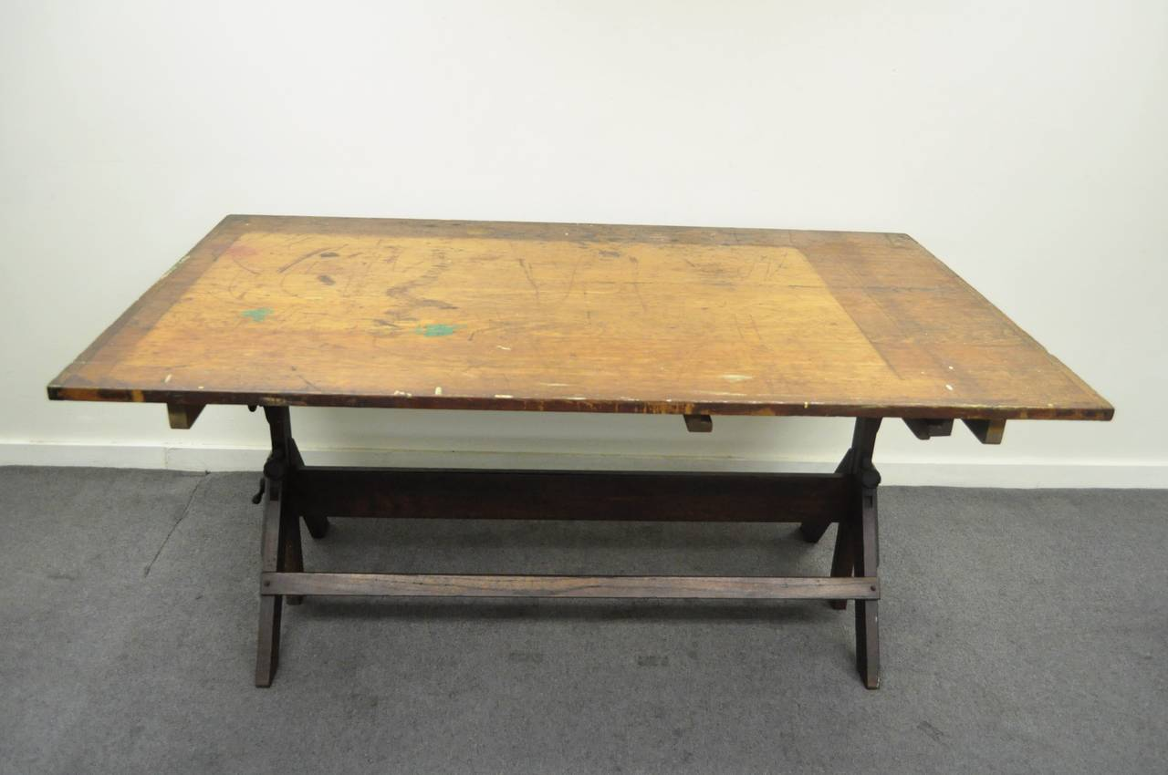Large Antique American Industrial Oak And Cast Iron Drafting Or Dining Table