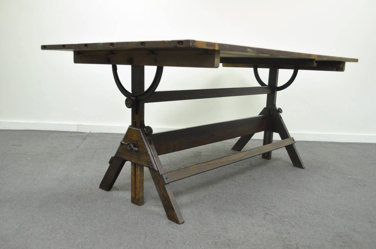 Large Antique American Industrial Oak And Cast Iron