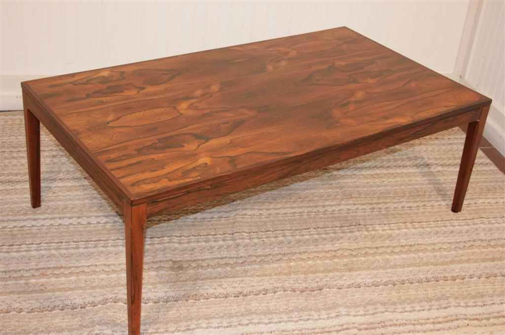 Danish modern rosewood coffee table with stunning grain at for Danish modern coffee table