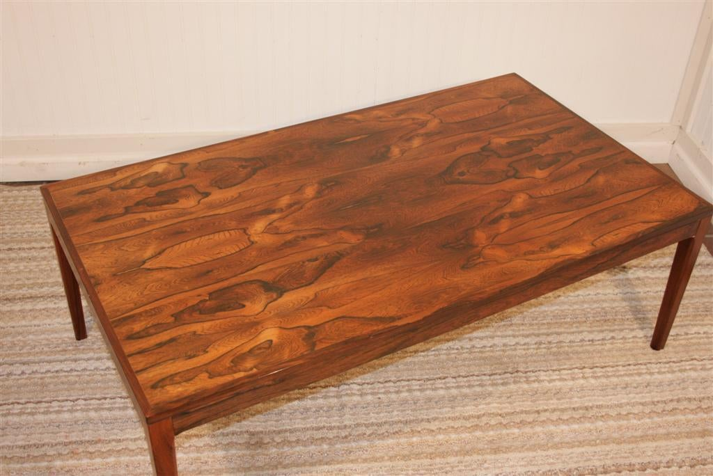 Danish Modern Rosewood Coffee Table With Stunning Grain At 1stdibs