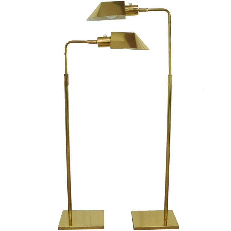 Vintage pair of koch and lowy omi brass adjustable floor task vintage pair of koch lowy omi brass adjustable floor task lamps for sale mozeypictures Images