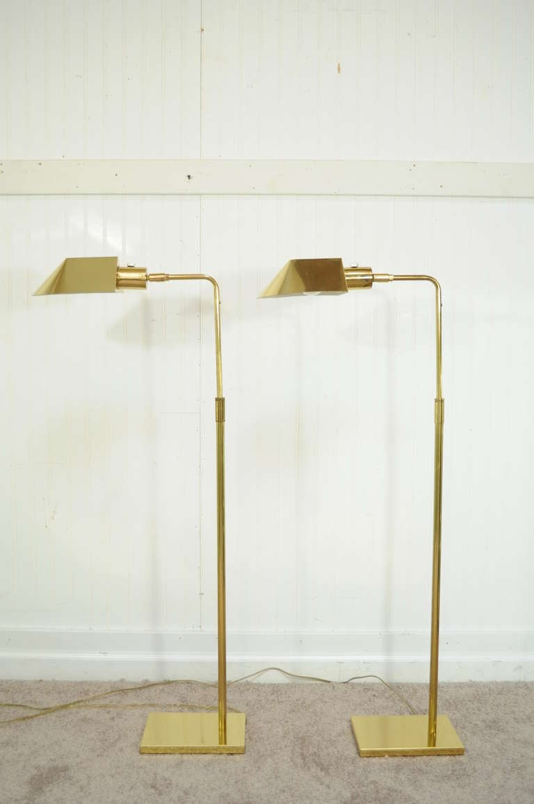 Vintage Pair Of Koch And Lowy Omi Brass Adjustable Floor