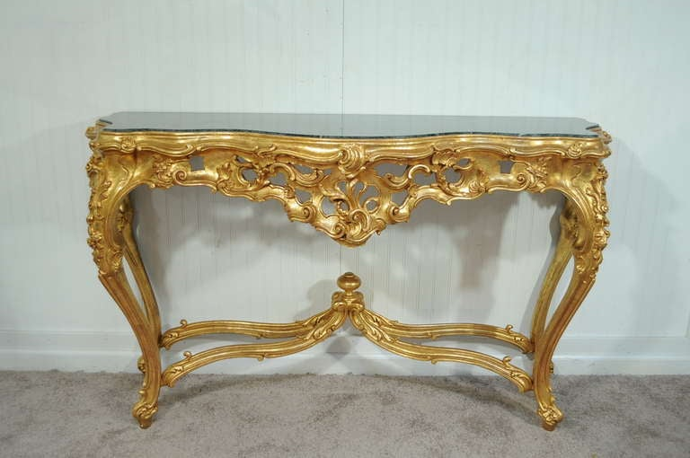 Labarge French Rococo Carved Wood Gold Gilt Marble Console