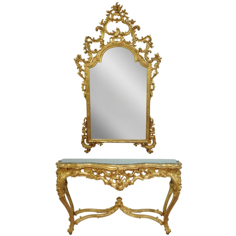 labarge french rococo carved wood gold gilt marble console table u0026 mirror 1