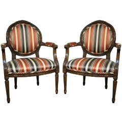 Pair of French Louis XVI Style Carved Wood Round Back Living Room Armchairs